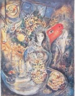 Painting, oil, figurative, artwork by Marc Chagall