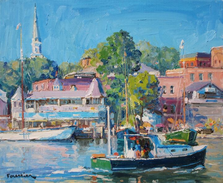 Camden, the return of the boat - Painting,  15x18.1 in ©2019 by Marc Forestier -                                            Impressionism, Seascape, Camden, Maine