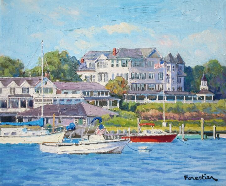 Seascape in Martha's Vineyard - Painting,  15x18.1 in ©2019 by Marc Forestier -                                            Impressionism, Seascape, Martha's Vineyard, Massachusetts