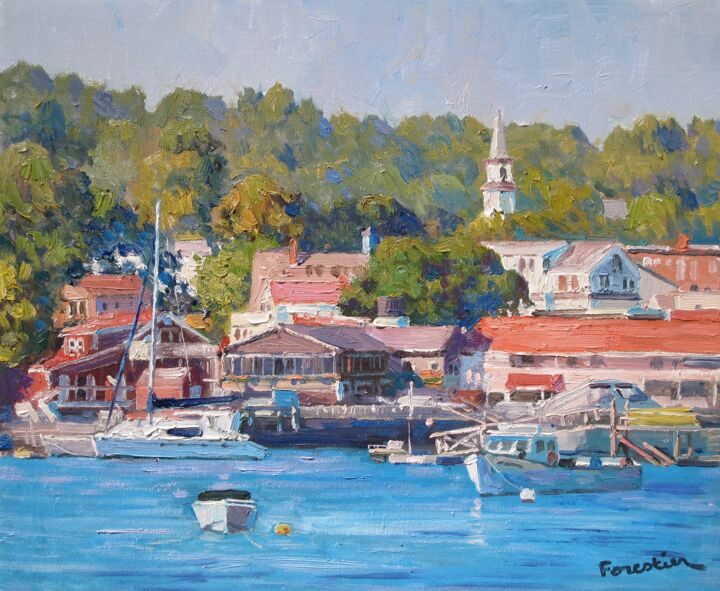 Boothbay Harbor - Painting,  15x18.1 in ©2019 by Marc Forestier -                                            Impressionism, Seascape, Boothbay, Maine