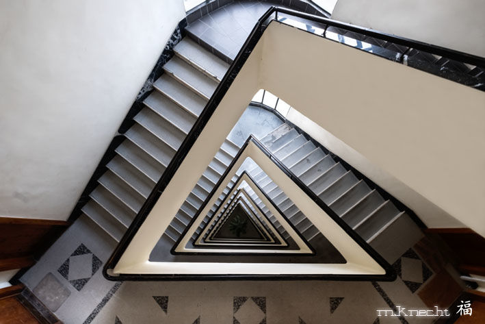 escalier triangulaire - Photography,  23.6x35.4x1.2 in, ©2018 by Marc Knecht Photographe -                                                                                                                                                                                                                                                                                                                                                                                                                                                          Figurative, figurative-594, Aluminum, Paper, Plexiglass, Architecture, Budapest, Knecht photographe, marc-knecht-photographe.fr