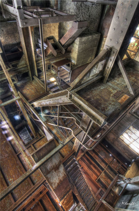 Escher, urbex - Photography,  80x60x0.3 cm ©2017 by Marc Knecht Photographe -                                                            Figurative Art, Aluminum, Architecture, usine de fer, knecht, marc, urbex, escher