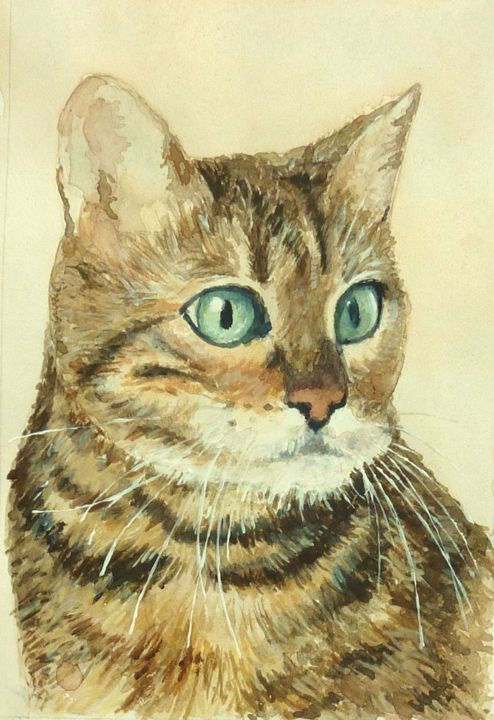 """Painting titled """"chat"""" by Marc Pfund, Original Art, Watercolor"""
