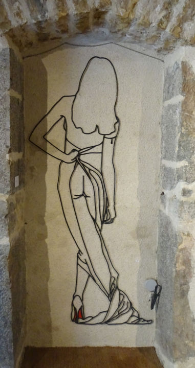 Cécile - Sculpture,  70.1x34.3x0.4 in, ©2014 by Marc Terrade -                                                                                                                                                                                                                          Outsider Art, outsider-art-1044, Metal, Nude
