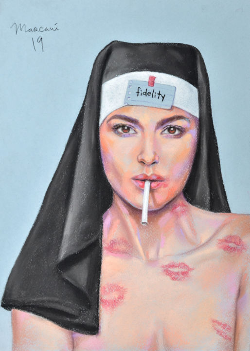 Fidelity - Drawing,  16.1x11.4x0.4 in, ©2019 by Marcani -                                                                                                                                                                                                                                                                                                                                                                                                                                                                                                                                                                                                                                                                                  Figurative, figurative-594, Gothic, Women, Cinema, People, Erotic, fidelity, nun, sister, conventual, women, kiss, cigarette