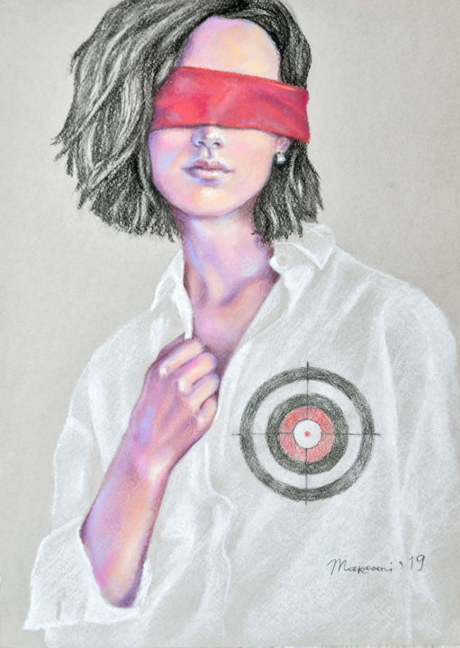 Target - Drawing,  16.1x11.4x0.4 in, ©2019 by Marcani -                                                                                                                                                                                                                                                                                                                                                                                                                                                                                                                                                                                                                                                                                                                              Conceptual Art, conceptual-art-579, Women, Love / Romance, People, Fashion, Portraits, target, heart, women, eyes, red, pain, love, cupid