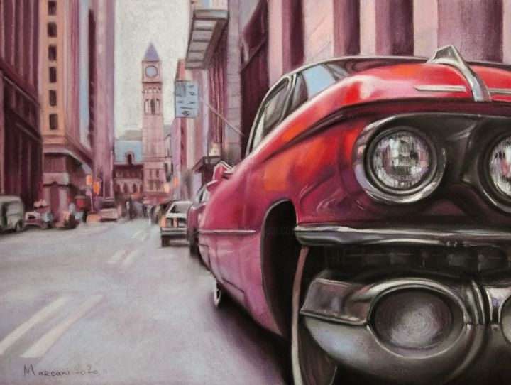 Red Car - Drawing,  11.8x15.8 in, ©2020 by Marcani -                                                                                                                                                                                                                                                                                                                                                                                                                                                                                                                                              Figurative, figurative-594, Car, Cities, Cityscape, History, Travel, red, car, city, ny