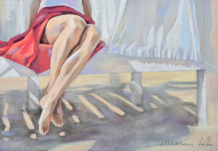 Summertime - Drawing,  7.9x11.4x0.4 in, ©2020 by Marcani -                                                                                                                                                                                                                                                                                                                                                                                                                                                                                                                                                                                                                                                                                  Figurative, figurative-594, Women, Love / Romance, Beach, Light, Body, beach, summer, women, red, legs, sun, vacation