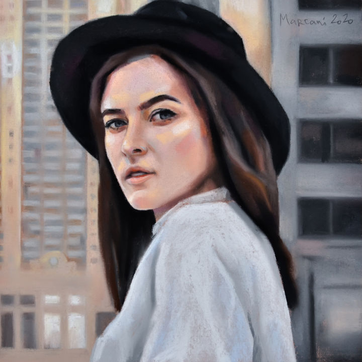 Hat girl - Drawing,  11.4x11.4x0.4 in, ©2020 by Marcani -                                                                                                                                                                                                                                                                                                                                                                                                                                                                                                                                                                                          Figurative, figurative-594, Cities, Cityscape, Women, People, Portraits, girl, hat, city, ny, portrait