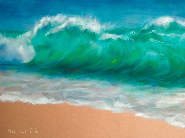 Sea - Painting,  11.4x15.4x0.4 in, ©2020 by Marcani -                                                                                                                                                                                                                                                                                                                                                                                                                                                                                                  Impressionism, impressionism-603, Water, Places, Seascape, Landscape, Nature, sea, ocean, wave