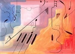 """Painting titled """"Music"""" by Marc Barquer, Original Art,"""