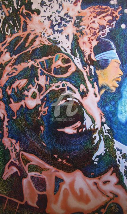 """Painting titled """"Jimi"""" by Marc G. Doutherd, Original Art, Oil"""