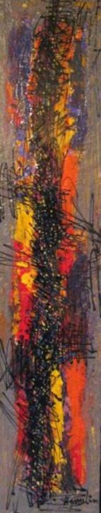 prélude - Painting,  8x48 in ©2011 by Marcelle Hamelin -            oeuvre abstraite sur bois