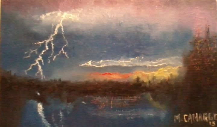 Tempestade - Painting,  12x24 cm ©2013 by MARCELO CAMARGO -                                                                                                                                Figurative Art, Rural life, Science & Technology, Seasons, Places, Light, Nature, Landscape, Time, Tempestade, raios, chuva, natureza, impressionismo.