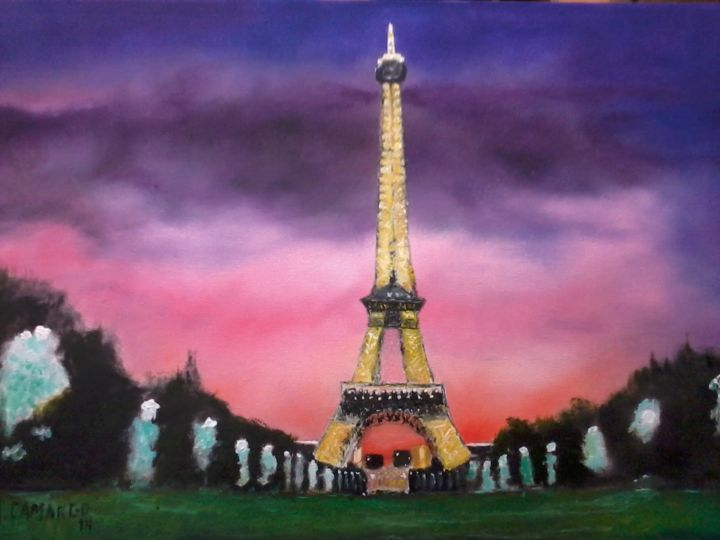 Noite em Paris - Painting,  60x40 cm ©2014 by MARCELO CAMARGO -                            Figurative Art, paris, torre Eiffel