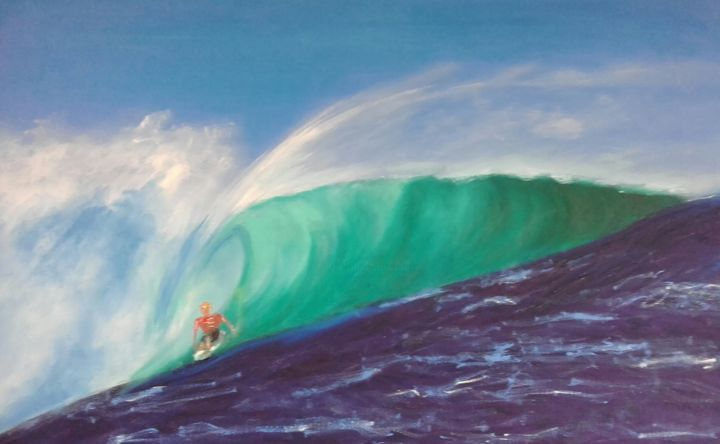 Surfe - Painting,  54x80 cm ©2016 by MARCELO CAMARGO -                                                                            Sports, Spirituality, Places, Landscape, Water, Surfe, surf, praia, mar, Gabriel Medina, Mineirinho