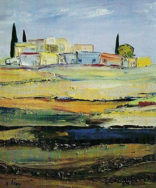 paysage.jpg - Painting,  19.7x15.8 in, ©2006 by Marc Levy -
