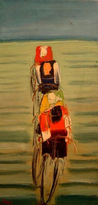 CYCLISTE : Le contre la montre - Painting,  40x20 cm ©1976 by Marc Levy -