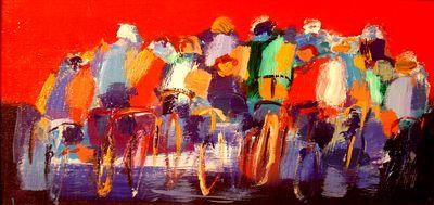 Array - Painting,  40x20 cm ©2006 by Marc Levy -            levy marc, cyclistes