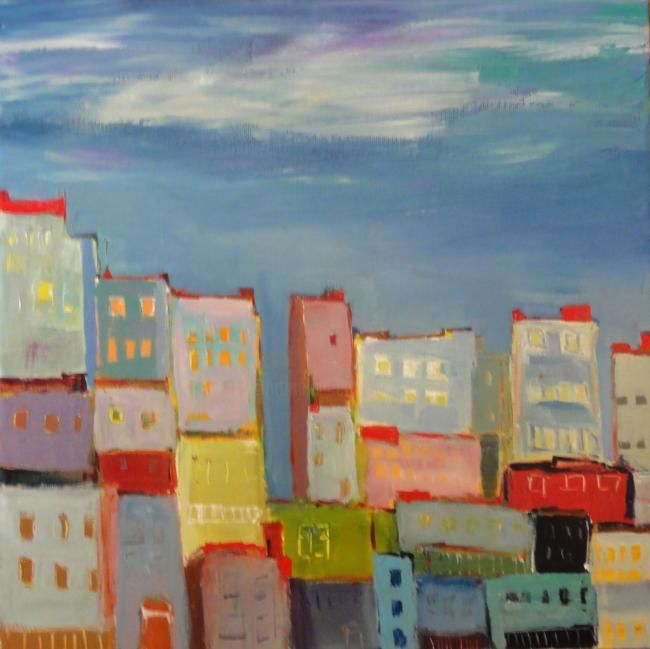 les toits - Painting,  50x50 cm ©2011 by Marc Levy -