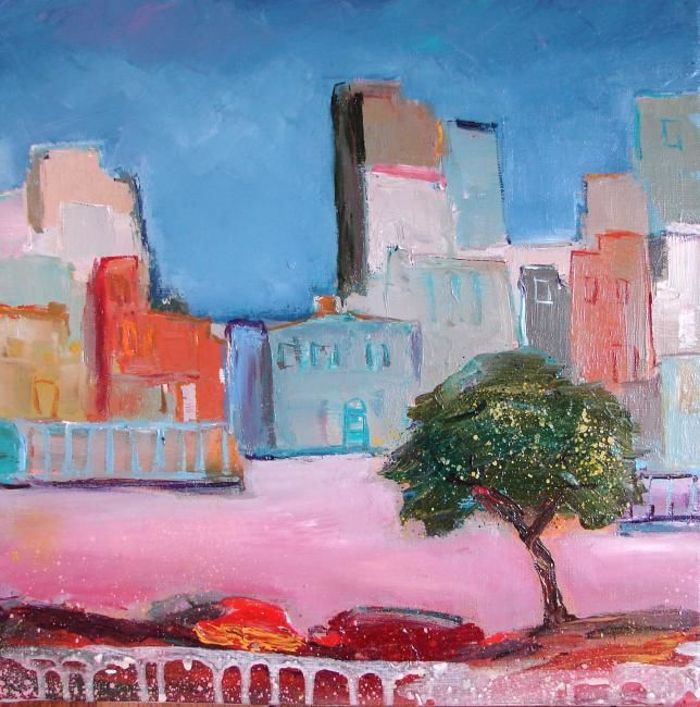 paysage mediteraneen - Painting,  40x40 cm ©2011 by Marc Levy -