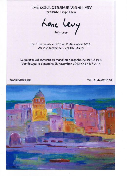 carton d invitation - Painting,  0.4 in, ©2012 by Marc Levy -