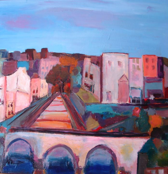 le pont - Painting,  31.5x31.5 in, ©2012 by Marc Levy -                                                              huile sur toile
