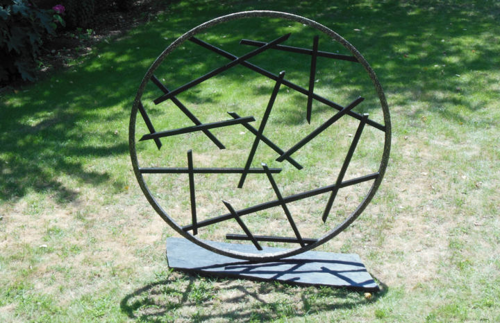 CERCLE DE PIERRES V - ©  Sculpture, Statue, Décoration, Aménagement, Jardin, Extérieur, nature, pierre, minéral, métal, inox, monumental, art, contemporain, œuvre, land, sculpteur, français, international, France, Bourgogne, création Online Artworks