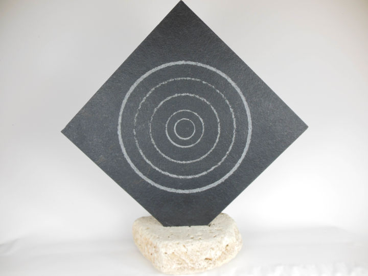 """Sculpture titled """"TRACES CIRCULAIRES"""" by Marc Mugnier, Original Art, Stone"""