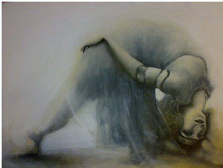 bohemian - Painting,  27.6x39.4 in, ©2011 by marcoci ioana -                                                              Seductive young dancer of the '20's.