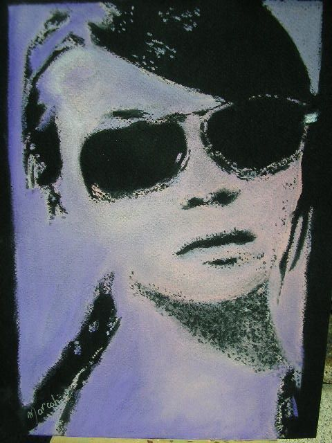 portrait style  Andy Wharhol ( bleu  clair ) - Drawing,  24x32 cm ©2009 by Marcoh -