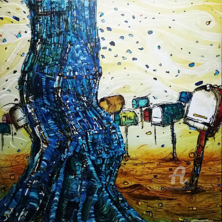 """Painting titled """"Arvore Azul"""" by Marcos Costa, Original Art, Acrylic"""