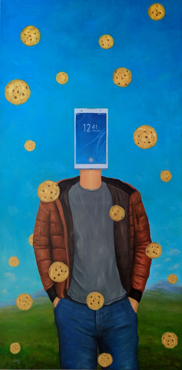 Cookieland - Painting,  47.2x23.6x1.4 in, ©2018 by Marco Santos -                                                                                                                                                                                                                                                                                                                                                                                                                                                                                                                                              Surrealism, surrealism-627, Science & Technology, Culture, World Culture, Humor, cookieland, cookies, smartphone, telemovel, privacy