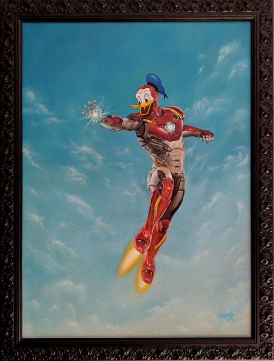 IRON DUCK - Painting,  24x18.1x1 in, ©2018 by Marco Santos -                                                                                                                                                                                                                                                                                                                                                                                                                                                                                                                                                                                                                                                                                  Pop Art, pop-art-615, Celebrity, Cinema, Fairytales, Culture, Pop Culture / celebrity, iron duck, iron man, donald duck, avengers, Disney art, Fan art, Marvel art