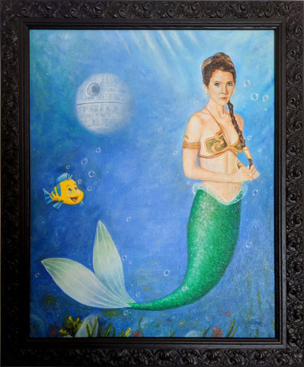 The Leia Mermaid - Painting,  16.1x13 in, ©2018 by Marco Santos -                                                                                                                                                                                                                                                                                                                                                                                                                                                                                                                                                                                                                                                                                                                                                                                                                                                                                                                                                          Pop Art, pop-art-615, Celebrity, Cinema, Fairytales, Culture, Pop Culture / celebrity, princess leia, slave leia, mermaid, the little mermaid, carrie fisher, star wars, disney, death star, mermaids, Disney art, Star wars art, Fan art, Pop surrealism