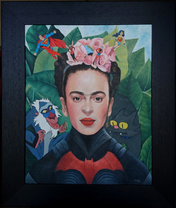 Retrato sin collar de espinas - Painting,  22.4x18.9 in, ©2019 by Marco Santos -                                                                                                                                                                                                                                                                                                                                                                                                                                                                                                  Figurative, figurative-594, Celebrity, Culture, Pop Culture / celebrity, Heroic-Fantasy, Comics, Friducha, Frida kahlo, frida kahlo fan art