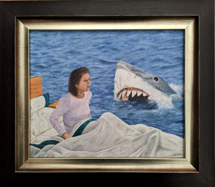 Get out of the water - Painting,  13.4x15.4x1 in, ©2019 by Marco Santos -                                                                                                                                                                                                                                                                                                                                                                                                                                                                                                                                                                                                                                                                                                                                                                                                                                                                                                                                                                                                                                                  Figurative, figurative-594, Cinema, Culture, Pop Culture / celebrity, Science-fiction, Fantasy, jaws, nightmare, jaws art, steven spielberg, pop culture art, fan art, get out of the water, roy sheider, shark, tiburon, tubarao, pesadelo, pesadilla, pop surrealism, lowbrow