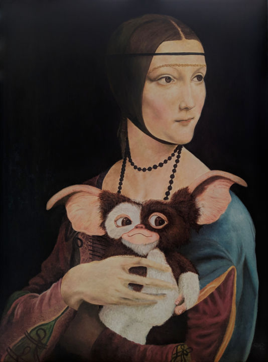 """Painting titled """"Lady with a Mogwai"""" by Marco Santos, Original Art, Oil"""