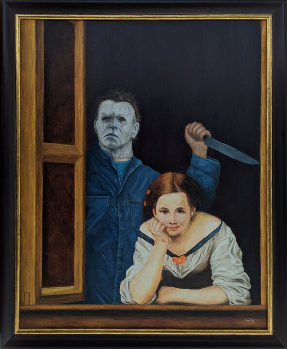 """Painting titled """"Murder at a window"""" by Marco Santos, Original Art, Oil"""