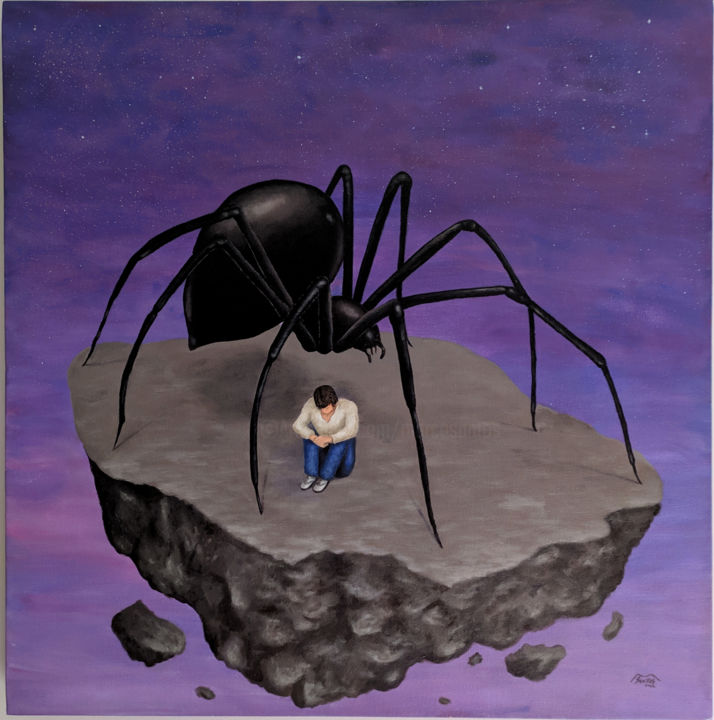 Arachnophobia - Painting,  23.6x23.6x1.4 in, ©2012 by Marco Santos -                                                                                                                                                                                                                                                                                                                                                                                                                                                                                                                                                                                                                                                                                                                                                                                                                      Surrealism, surrealism-627, Culture, Animals, World Culture, People, Cinema, Aracnofobia, Arachnophobia, aranha, medo, miedo, fear, araña, spider, phobia, fobia