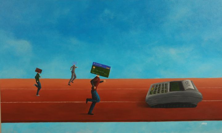 Race to consumerism - Painting,  23.6x39.4x1.4 in, ©2013 by Marco Santos -                                                                                                                                                                                                                                                                                                                                                                                                                                                      Surrealism, surrealism-627, Culture, World Culture, People, consumismo, consumerism, comprar, buy
