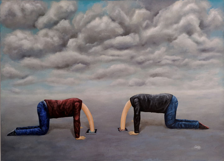 The loss of reality - Painting,  19.7x27.6x1.4 in, ©2014 by Marco Santos -                                                                                                                                                                                                                                                                                                                                                                                                                                                                                                                                                                                                                                      Surrealism, surrealism-627, People, A perda da realidade, La pérdida de la realidad, The loss of reality, pda, iphone, app, realidades quotidianas, daily realities, realidades cotidianas, smartphone