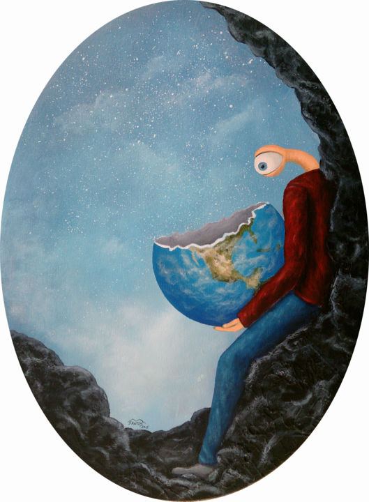 Impassive observer - Painting,  24.4x20.5 in, ©2015 by Marco Santos -                                                                                                                                                                                                                                                                                                                                                                                                                                                                                                                                                                                                                                                                                                                                                                                                                                                                                                              Surrealism, surrealism-627, Nature, People, Culture, observador impassível, observador impasible, impassive observer, critica social, social criticism, marco santos, pequenas realidades, pequeñas realidades, small realities, planeta terra, planet earth, olho, eye, ojo