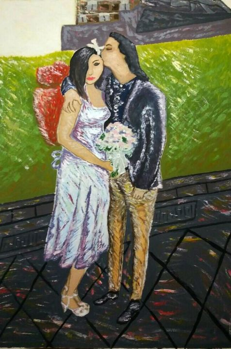 """Painting titled """"Sposi nel giorno"""" by Moises, Original Art,"""