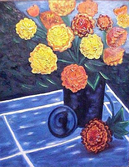 """Painting titled """"Flowers on Tile Tab…"""" by Paul Marco, Original Art, Acrylic"""