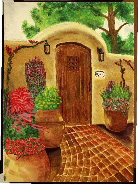 """Painting titled """"Garden Gate"""" by Paul Marco, Original Art, Watercolor"""
