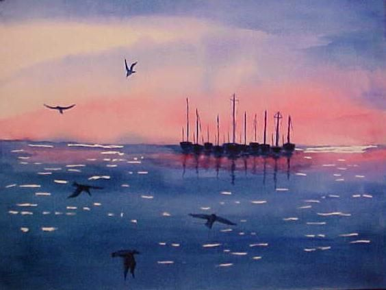 """Painting titled """"Harbour II"""" by Paul Marco, Original Art, Watercolor"""