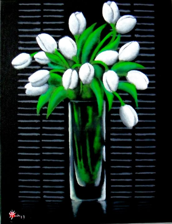 Tulipes blanches - Painting,  14.6x9.8 in, ©2013 by Marc Parmentier -                                                                                                                                                                                                                                                                                                                  Classicism, classicism-933, Flower, fleur, tulipe, clair obscur