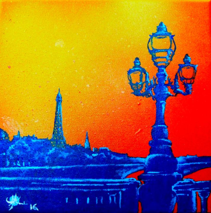 Pont Alexandre III.jpg - Painting,  7.9x7.9 in, ©2016 by Marc Parmentier -                                                                                                                                                                                                                                                                                                                  Figurative, figurative-594, Architecture, Cityscape, Cities, Paris