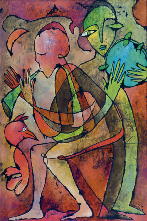 klezmorim 2 No.G44.jpg - Painting,  36x24 in, ©1999 by Margalit (Malgorzata Krasucka) -                                                                                                                                                                                                                                                                                                                                                                                                                                                                                                                                                                                          Abstract, abstract-570, Culture, Fairytales, Music, Pop Culture / celebrity, klezmerzy, klezmorim, jewish subject, zydowskie motywy, obraz, painting